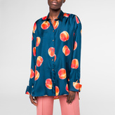 Paul Smith Women's Navy Double-Cuff Silk Shirt With 'Peach' Print