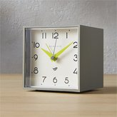 CB2 Newgate ® cubic grey and white alarm table clock