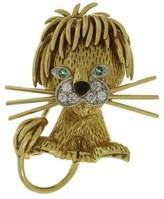 Van Cleef & Arpels 18K Yellow Gold Diamond Emerald Enamel Lion Brooch