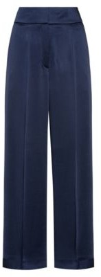 HUGO BOSS Regular Fit Pants With High Rise Waistband - Open Blue