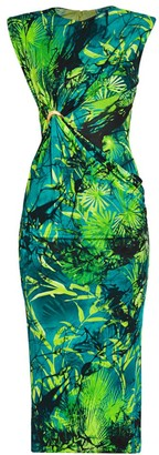 Versace Sleeveless Jungle-Print Midi Dress