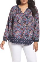 Foxcroft Plus Size Women's Hannah Paisley Peasant Top