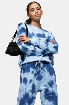 Topshop Womens Blue Tie Dye Sweatshirt - Blue
