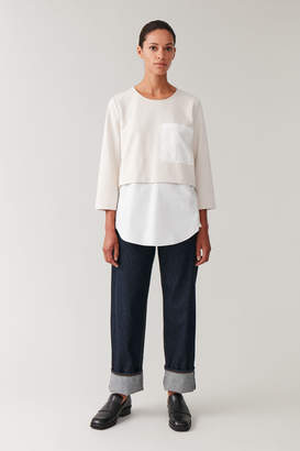 Cos OVERSIZED WOVEN-JERSEY TOP