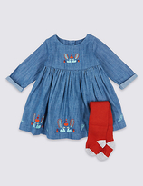 Marks and Spencer 2 Piece Embroidered Baby Dress with Tights