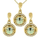 Sabrina Silver 14K Yellow Gold Natural Amethyst Earrings and Pendant Set with Diamond Accents Round 4 mm