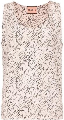 Plan C Silk Geometric Print Vest