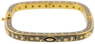 20kt Yellow Gold, Enamel And Diamond Eye, Moon And Star Bangle