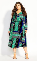 City Chic Bright Patch Dress - multi
