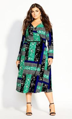 City Chic Bright Patch Dress - multi