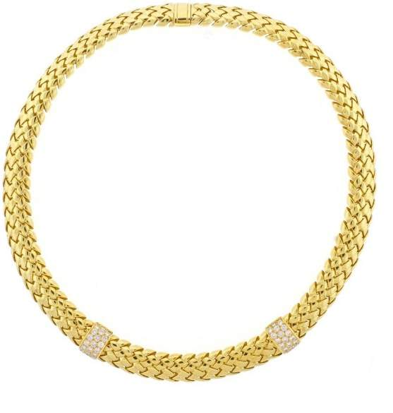Tiffany & Co. Yellow Gold Diamond Vannerie Necklace