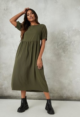 Missguided Puff Sleeve Midi Smock Dress