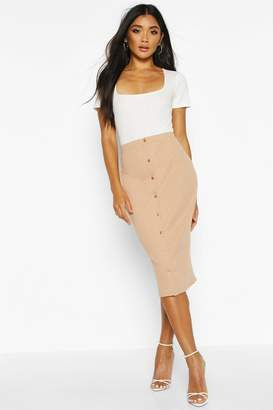 boohoo Soft Rib Button Front Midi Skirt