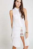 BCBGeneration Long Slit Button-Down Collared Tank - White