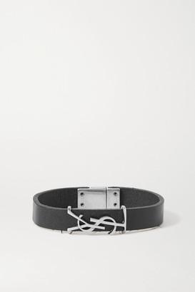 Saint Laurent Leather And Silver-tone Bracelet - Black