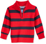 Tommy Hilfiger Baby Boys' Quarter-Zip Striped Sweater