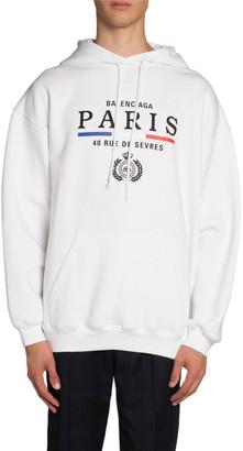 Balenciaga Men's Vintage Paris Flag Graphic Hoodie