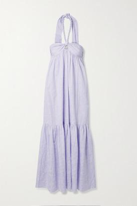 Mara Hoffman + Net Sustain Basilia Organic Cotton-blend Jacquard Halterneck Maxi Dress - Lavender
