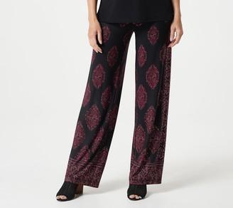 Susan Graver Petite Printed Liquid Knit Wide Leg Pants