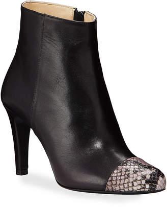 Bruno Magli Suelo Snake-Print Leather Cap-Toe Booties