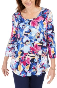 JM Collection Petite Floral-Print 3/4-Sleeve Top, Created for Macy's