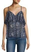 Paige Henna Button-Front Camisole Top, Dark Ink Blue