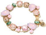 Betsey Johnson Gold-Tone Pink Stone and Crystal Stretch Bracelet