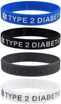 """Max Petals """"TYPE 2 DIABETIC"""" Medical Alert ID Silicone Bracelet Wristbands 4 Pack (XL - 8.5 inches)"""