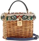Dolce & Gabbana Crystal-embellished leather-trimmed basket bag