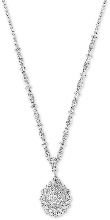 """Effy Pave Classica by Diamond Pave Teardrop 18"""" Pendant Necklace (1-3/4 ct. t.w.) in 14k White Gold"""