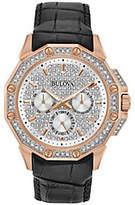 Bulova Men's Crystal Watch with Black Leather Strap