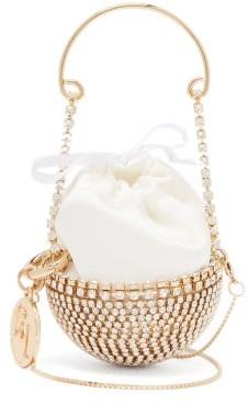 Rosantica Baby Ghizlan Mini Crystal-embellished Satin Bag - White Multi