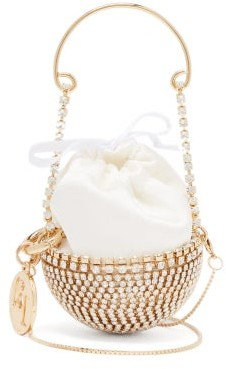 Rosantica Baby Ghizlan Mini Crystal-embellished Satin Bag - Womens - White Multi