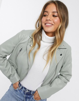 ASOS DESIGN ultimate faux leather biker jacket in sage