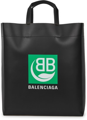 Balenciaga Black logo-print leather tote