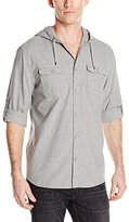 DKNY Men's Long Sleeve Roll Tab Heather Shirt with Quilted Hood and Pkts