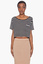 R13 Cropped Black Stripe T-Shirt