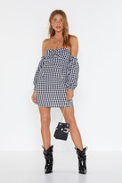 Nasty Gal Womens Gingham Everything Off-the-Shoulder Mini Dress - black - 12
