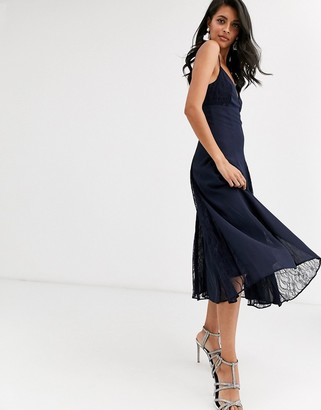 Asos DESIGN cami midi dress with lace insert godets