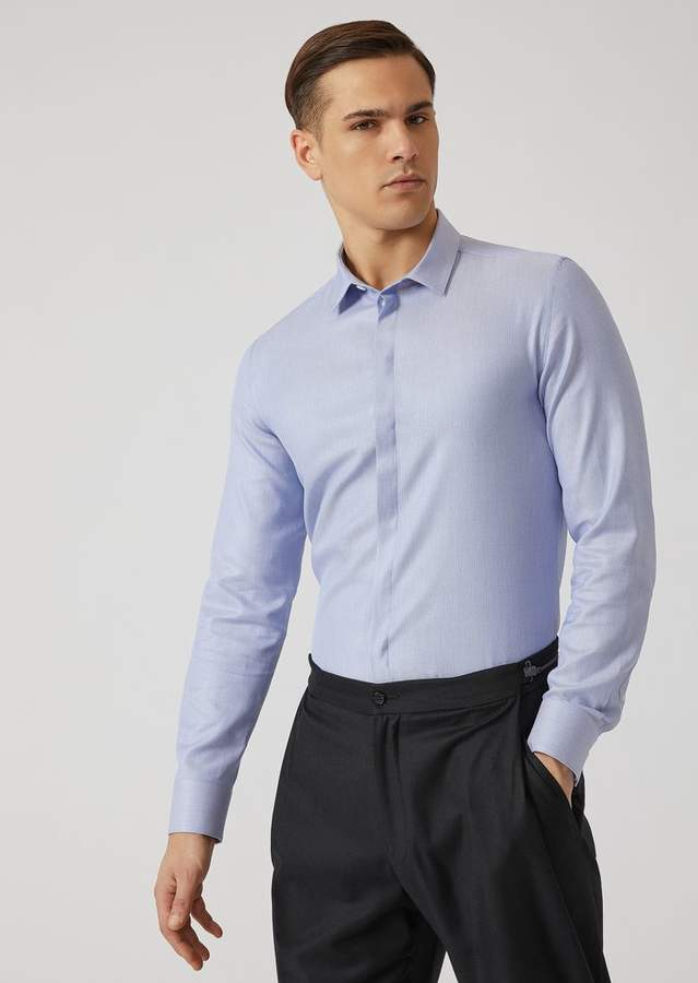 Emporio Armani Woven Pure Cotton Shirt With Small Collar