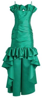 Sandra Mansour Ruched Ruffle Dipped-Hem Dress