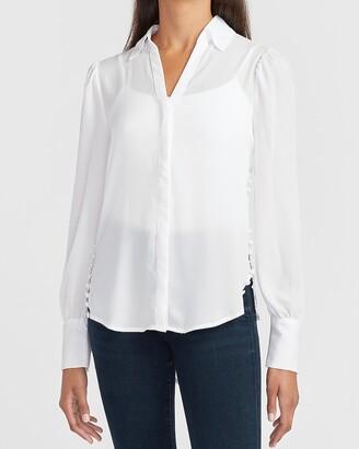 Express Hi-Lo Button Side Puff Sleeve Portofino Shirt