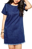Choco Mocha Women's Short Sleeve Shift Lace Up Denim Dress Plus