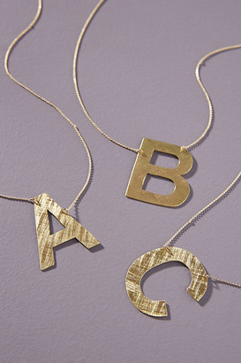 Anthropologie Block Monogram Necklace By in Gold Size Q