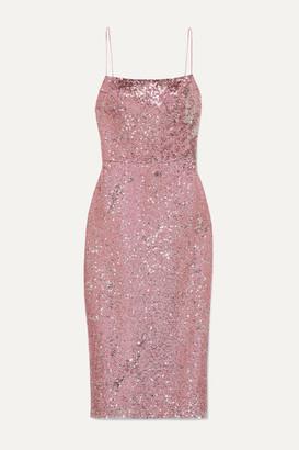Rasario Two-tone Sequined Satin Midi Dress - Pink