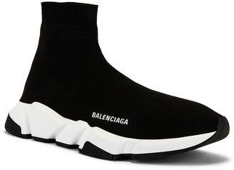 Balenciaga Speed Light Knit Sneaker in Black & White | FWRD