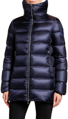 Moncler Torcon Contrast-Collar Puffer Coat