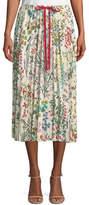RED Valentino Pleated Floral-Print Midi Skirt