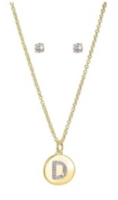 """Unwritten Fine Silver Plated Clear Cubic Zirconia Initial Coin Pendant and Earring Set in Gold, 16""""+2"""" Extender"""