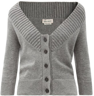 Alexander McQueen Off-the-shoulder Cashmere Cardigan - Grey